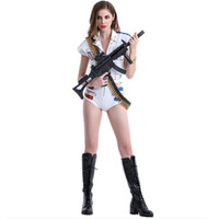 white military jumpsuit for women military cosplay costume military dance costumes halloween cosplay soldier dance costume