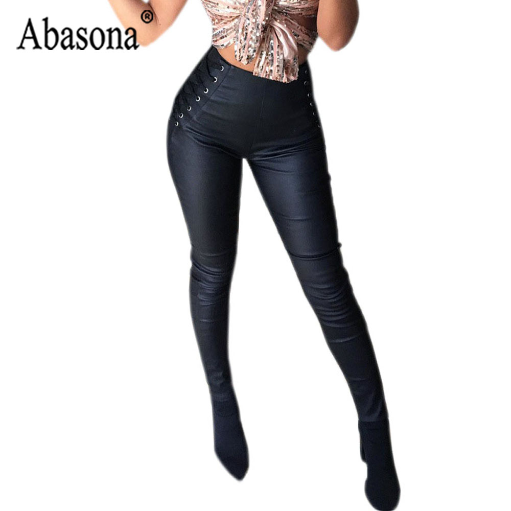 Abasona Pu Leather Pants Women Zipper In The Back Side Bandage High Waist Pencil Pants Female Black Velvet Sexy Bodycon Pant