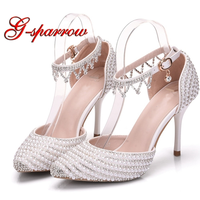 d48adea3745 New Designer Ankle Strap Bride Shoes 3 Inches High Heels Pointed Toe Wedding  Dress Shoes Performance