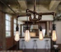 Vintage Nostalgic Industrial Antique Lustre Loft Personalized 4lt Water Pipe Edison Pendant Lamp Bar Modern Home Decor Lighting