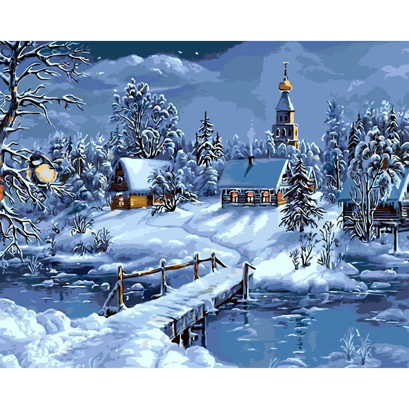 0329ZC169 Home wall Deco picture DIY number oil painting children Graffiti house in the snow painting by numbers pretty girl in the lavender field oil painting