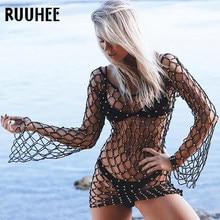 d478bccd854be RUUHEE Bikini Beading Cover Up Hollow Crochet Swimsuit Sexy Mesh Beach  Dress Women Summer Cover-Ups Bathing Suit Beach Wear