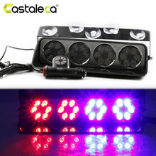 Castaleca Remote Control Warning Police Strobe Lights 24LED Super Bright Emergency Flashing Fog Lights Red Blue Car Styling(China)