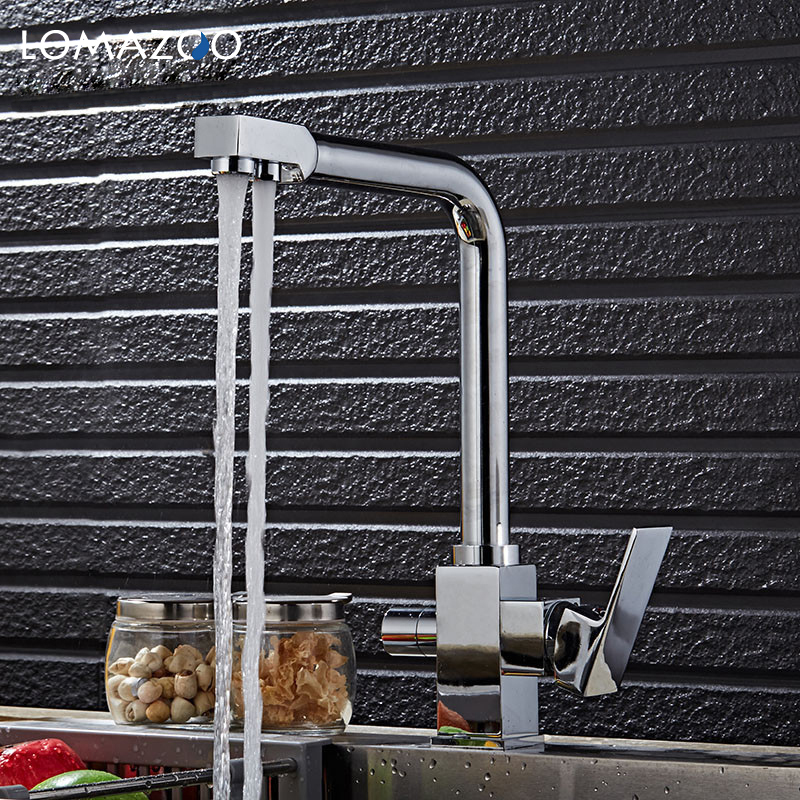 купить LOMAZOO Double Tap Kitchen Faucet Bathroom Sink Faucet Rotatable Waterfall Faucet Single Handle Brass Rotate mixer по цене 4855.02 рублей