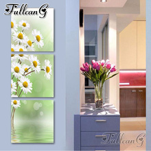 FULLCANG 3pcs/set diamond embroidery white daisy flower vertical triptych 5d diy mosaic painting full square/round drill FC797