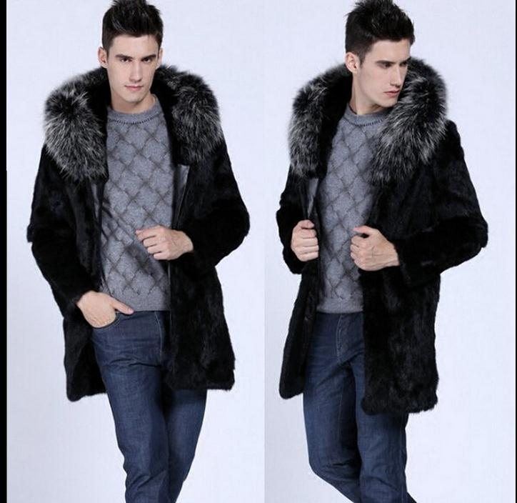Single Breasted Winter Long Herre Hooded Overcoats Faux Fur Jackets - Herretøj - Foto 4