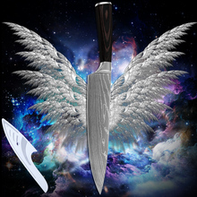 7Cr17stainless steel chef knife 8 inch kitchen knife Damascus stlye blade sharp color wood handle cooking tools hot products