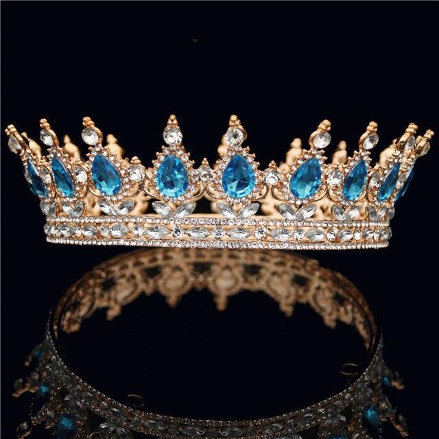 Round Diadem Silver Gold Women Headdress Crystal Rhinestone Full Circle Tiara Crown Bridal Wedding Jewelry Hair Accessories