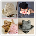 4 Cores Escolher Moda Jazz cap chapéu de Cowboy Fedora Malha Handmade infantil & Criança para criança bebê Recém-nascido meninas Mais Quente