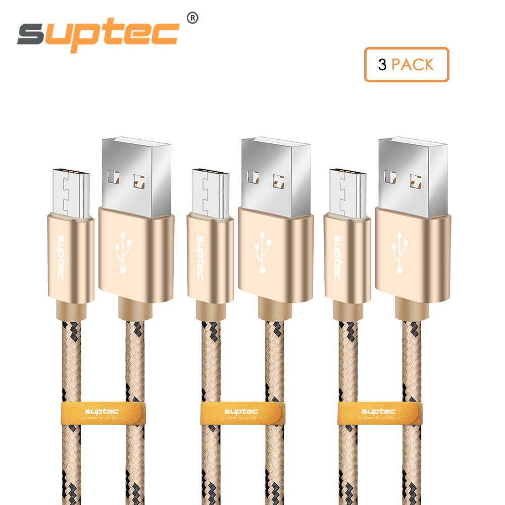 SUPTEC 3PCS Micro USB Cable 2.4A Fast Charging Metal Shell Gold-plated Connector Braided Wire Data Cable for Samsung Xiaomi LG