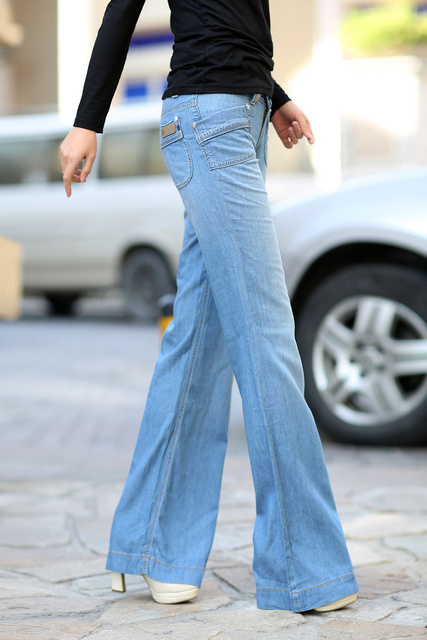 Free shipping Mercerized cotton denim jeans trousers wide leg  Made the old mill white thin section