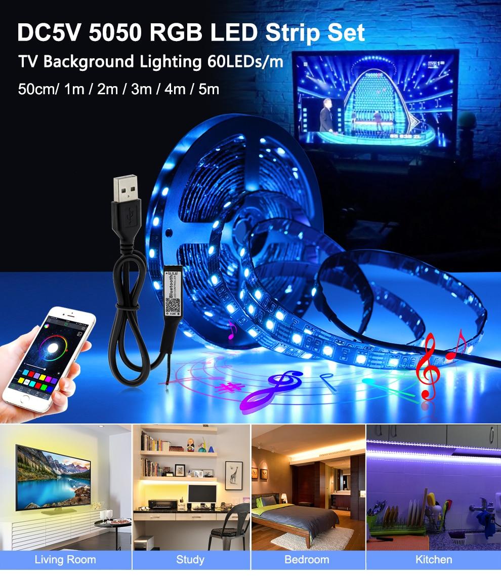 USB LED Strip 5050 RGB Changeable LED TV Background Lighting 50CM 1M 2M 3M 4M 5M DIY Flexible LED Light.