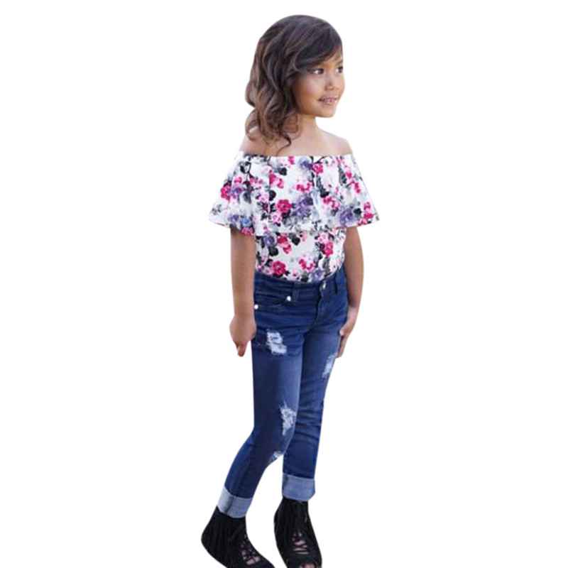 Toddler Kids Girls Long Sleeve T-shirt Tops Jeans Pants 1Set Outfit Clothes US