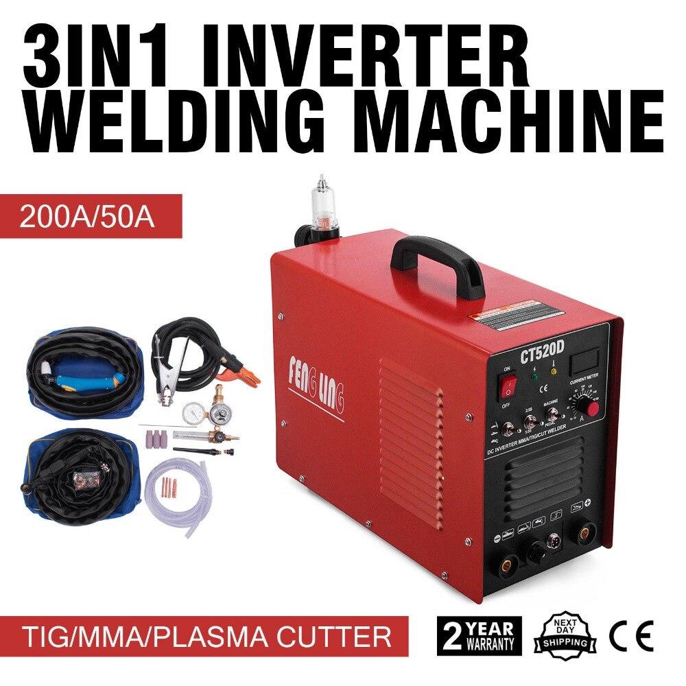 3 in 1 Plasma Cutter Tig Stick Schweißer 50Amp Air Plasma Cutter 220V Schweißen Maschine