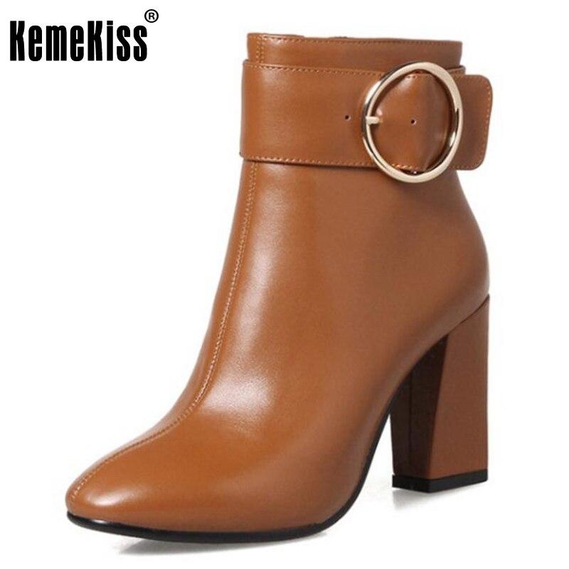 KemeKiss Women Real Leather High Heels Mid Calf Boots Ladies Metal Buckle Zip Shoes Women Winter Warm Botas Footwear Size 33-43 shiningthrough size 33 43 winter women boots thick high heels round toe platform shoes solid pu leather mid calf boots