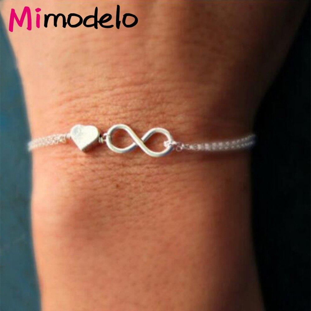 19 Style Fashion Women's Lucky 8 And Heart Infinity Charm Bracelets & Bangles Gift Slave Hand Bracelet Jewelry