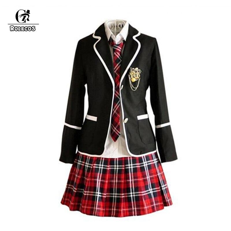 7e6c966847 Rolecos uniforme de otoño para Niñas japonés de alta escuela estilo preppy  campus uniforme mujeres traje de marinero camisa chaqueta falda