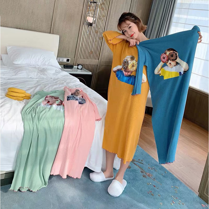 2019 New Spring Autumn Cotton lovely Cartoon Large Size Home Dress Sleepwear Casual Women   Nightgowns     Sleepshirts