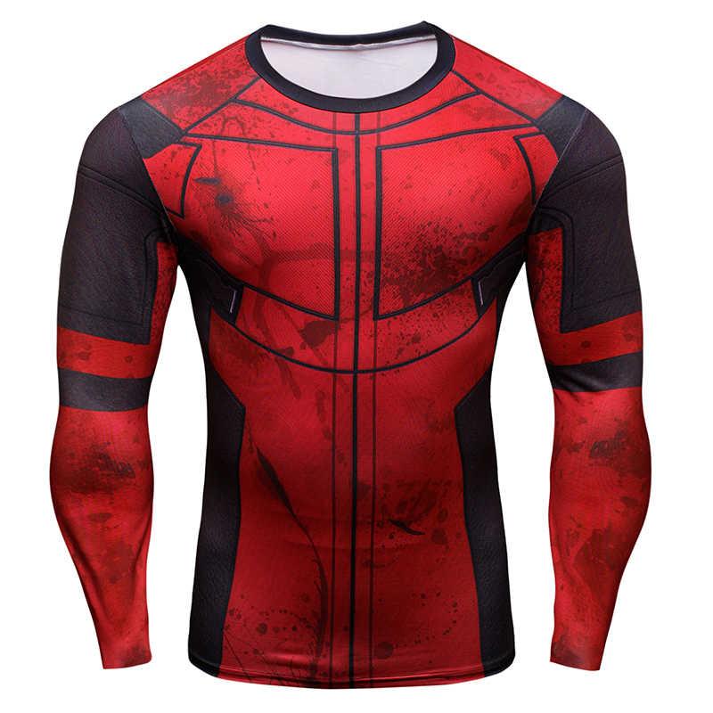 Горячая 3D печать супергерой Супермен/Бэтмен Мужская футболка с длинным рукавом компрессионные колготки топы фитнес-футболка