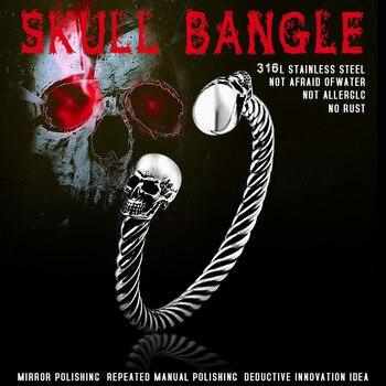 BEIER New Cool Punk Skull Bracelet For Man 316 Stainless Steel love Bangle Man's High Quality Jewelry BRG-012