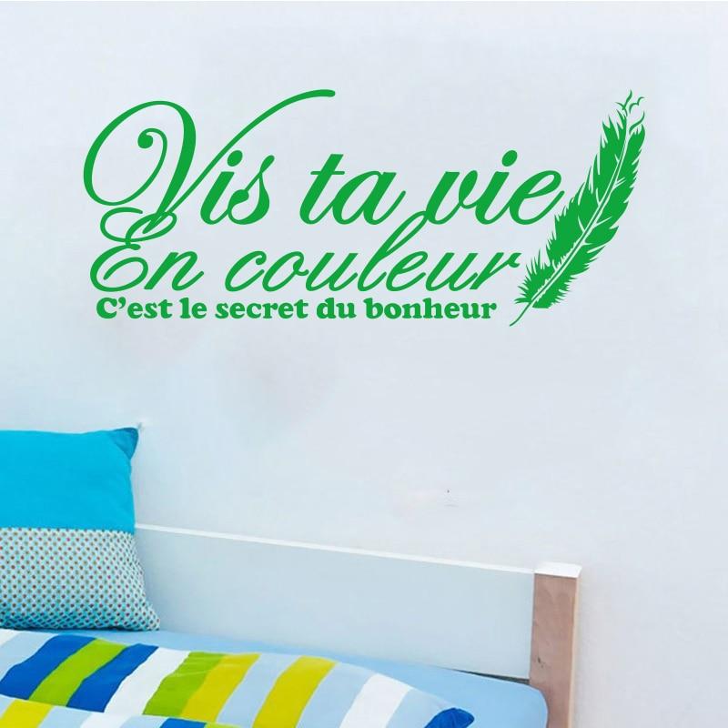 Stickers muraux Citation Française Vis Ta Vie En Couleur Stickers - Décor à la maison - Photo 2