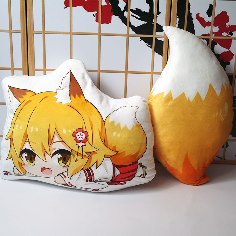 The Helpful Fox Senko-san Plush Toy Anime Sewayaki Kitsune No Senko-san Pillow Doll Cosplay Tail 50cm For Gift