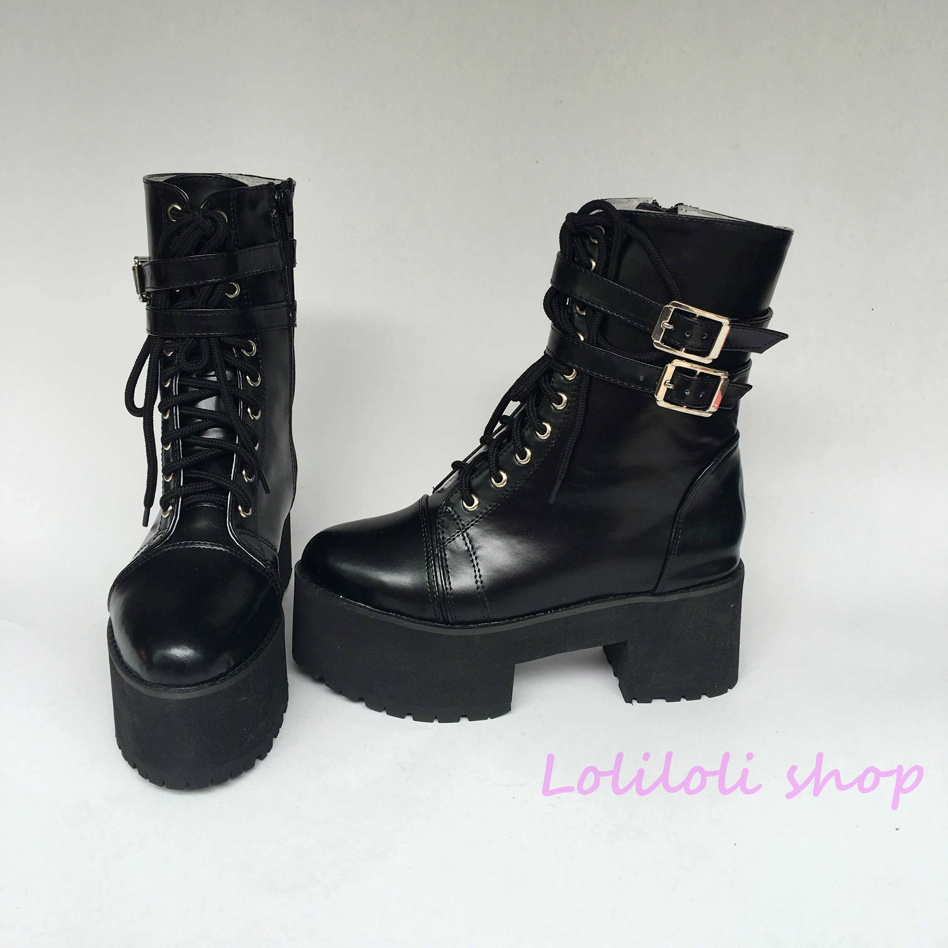 Princess punk shoes Lolilloliyoyo antaina Japanese design cos shoes custom black bright skin cross lacing thick heel boots 5221x