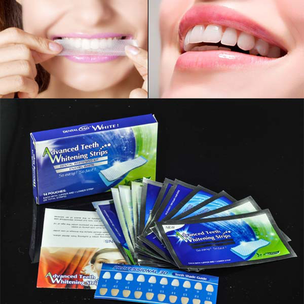 Y&W&F 28pcs/Box 14 Pouches Effects Dental Whitestrips Advanced Teeth Whitening Strips Stripes Oral Care Tooth Whitening Strip