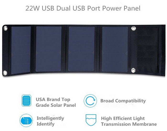 High Efficiency Poweradd 22W Solar Panel Charger Dual USB Port Solar Charger for Apple iPhone 6s Plus 6 5s 5/ iPad /Samsung,