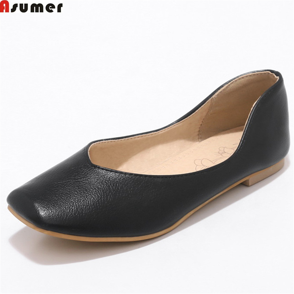 ASUMER 2018 new arrive fashion spring autumn flat shoes woman shallow casual square toe women flats plus size 33-46 black white de la chance 2018 new fashion women casual shoes adults colorful women s flats shoes woman breathable harajuku flat plus size