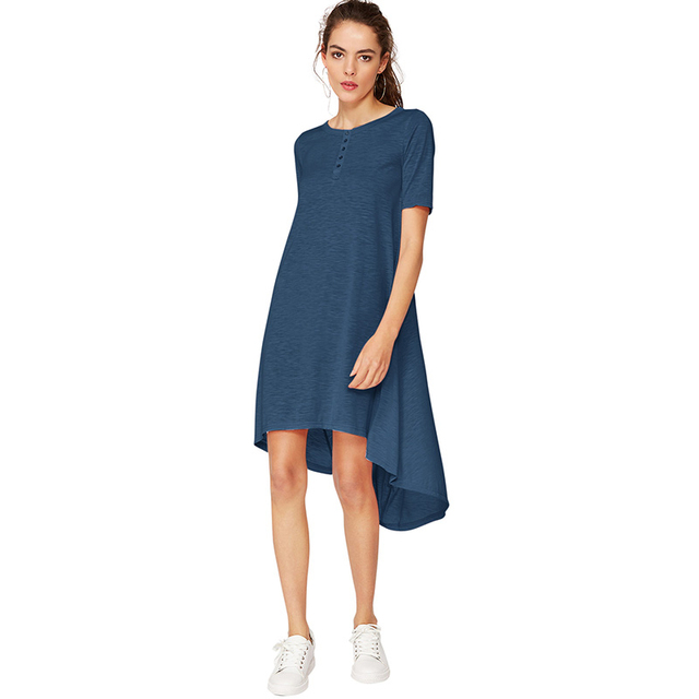 f3235c71eff New Women Casual Loose Summer Dress Solid Short Sleeve Button High-Low Hem  Asymmetric Ladies Midi Shirt Dresses Women Blue Rose