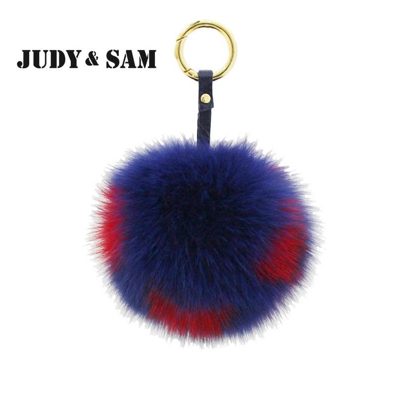 10pcs/lot Dice Fox Fur Pom Pom Wholesale Ring For Bag Key Luxury Fur Accessory Bi color Fur Poms 1 alphbet pompom fashion for car 12cm fluffy real fox fur pompon key ring keychain for bag accessory