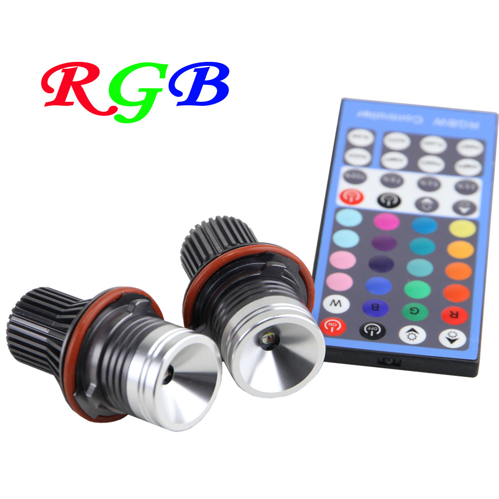 RGB remote control LED marker Angle Eyes multi-color halo ring light 12V Canbus For BMW E39 E53 E60 E61 E63 E64 E65 E66 X5 new e39 rgbw ir remote control led marker angel eyes for bmw e87 e60 e61 e63 e64 e65 e66 e53 e83 x5 rgb color changing lighting
