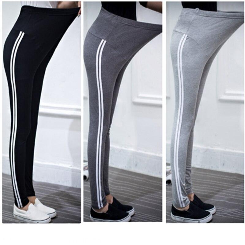 c56971e33603d4 Women Pregnant Leggings Adjustable Maternity Leggings Elasticity Pregnant  Pants Side Stripe Trousers Pregnancy Clothing-in Pants & Capris from Mother  & Kids ...