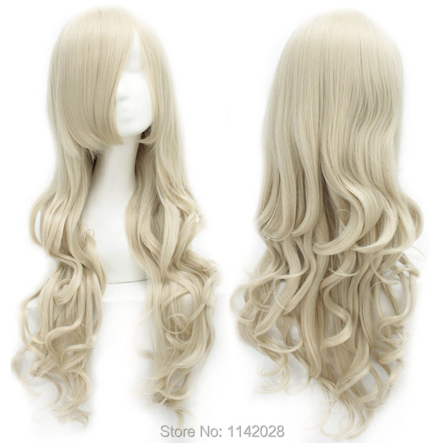 80cm Beige Wave Long Heat Resistance Synthetic Cosplay Hair Wig