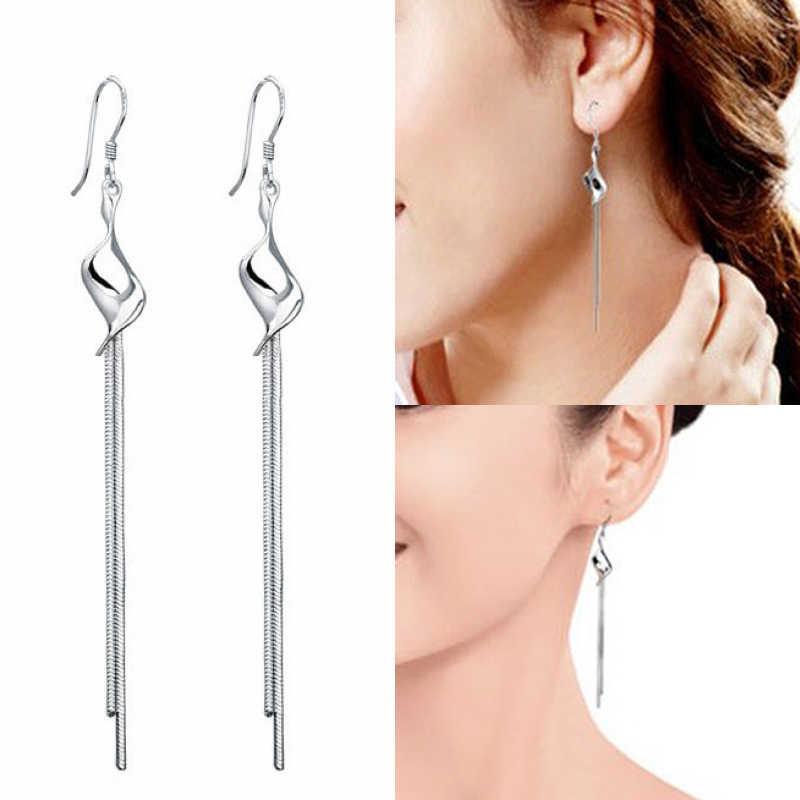 Kolor srebrny moda Twisted Tassel Drop kolczyki elegancka, długa zawieszka kolczyki kobiety Dangler prezent akcesoria biżuteryjne