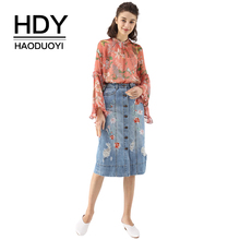 HDY Haoduoyi Women Casual Floral Print Loose Chiffon Tops Blouse Sweet Long Flare Sleeve See Through Female Shirt On Beach floral chiffon see thru blouse
