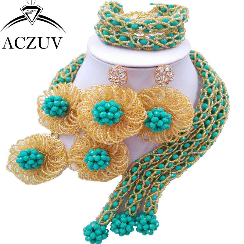 ACZUV Latest African Beads for Wedding Aqua Blue and Gold AB Crystal Nigerian Necklace Earrings C3F005ACZUV Latest African Beads for Wedding Aqua Blue and Gold AB Crystal Nigerian Necklace Earrings C3F005
