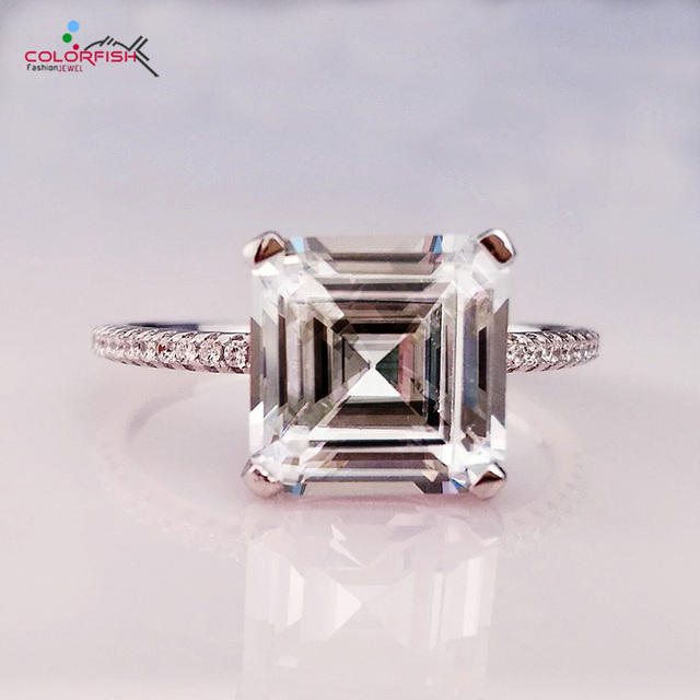 5772f18753 COLORFISH Luxury 4 ct Asscher Cut Solitaire engagement rings For women  Synthetic SONA Authentic 925 sterling silver Wedding Ring
