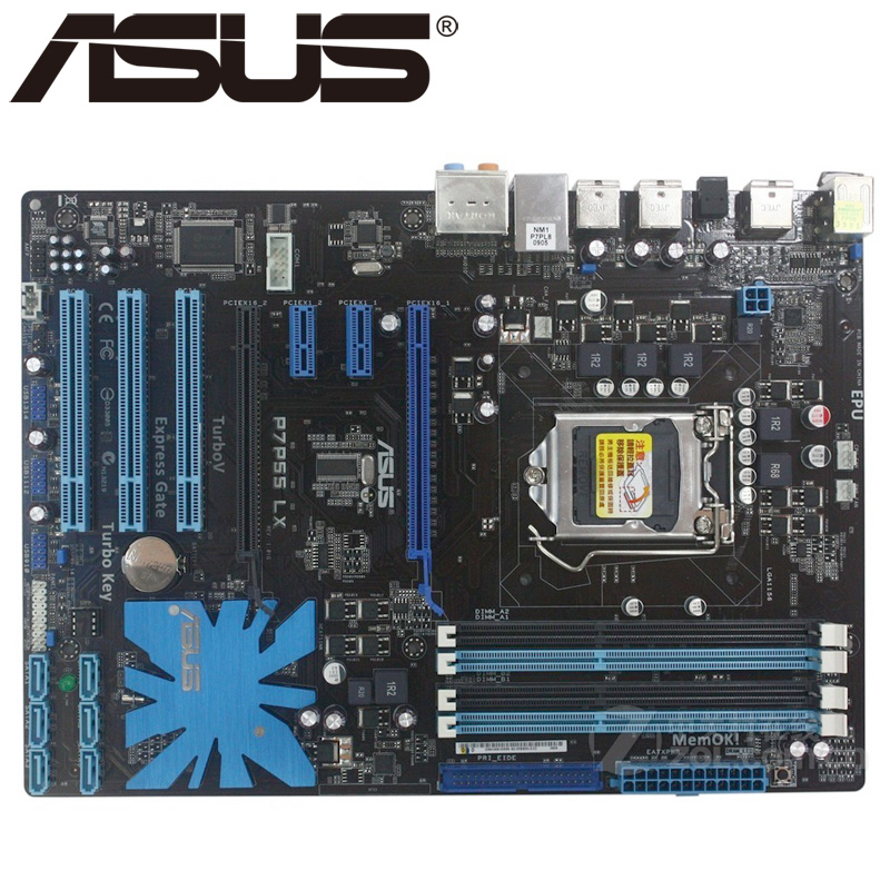 Asus P7P55 LX Deluxe Desktop Motherboard P55 Socket LGA 1156 i3 i5 i7 DDR3 16G ATX UEFI BIOS Original Used Mainboard On Sale asus p8z77 m desktop motherboard z77 socket lga 1155 i3 i5 i7 ddr3 32g uatx uefi bios original used mainboard on sale