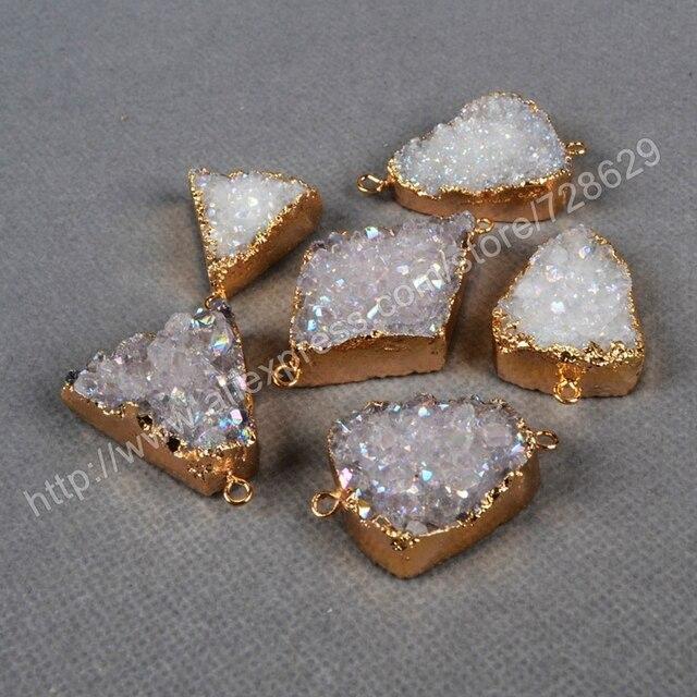 BOROSA 10Pcslot Gold Electroformed AB Color Natural Crystal Druzy