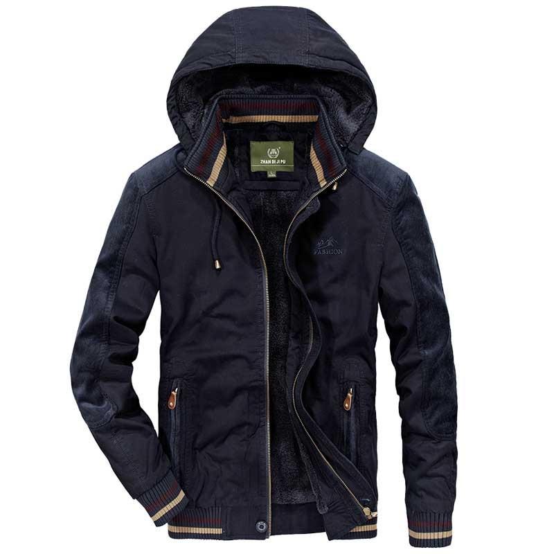16cef2f2937 Осенне-зимняя флисовая куртка с капюшоном мужская повседневная куртка-бомбер  в стиле милитари бейсбольное
