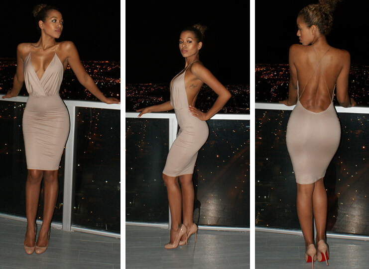 6df6ae80e9 Super sexy Backless Package hip bandage dress low cut deep v neck Tight  Harness nightclub party dress Summer Bodycon vestidos-in Dresses from  Women s ...