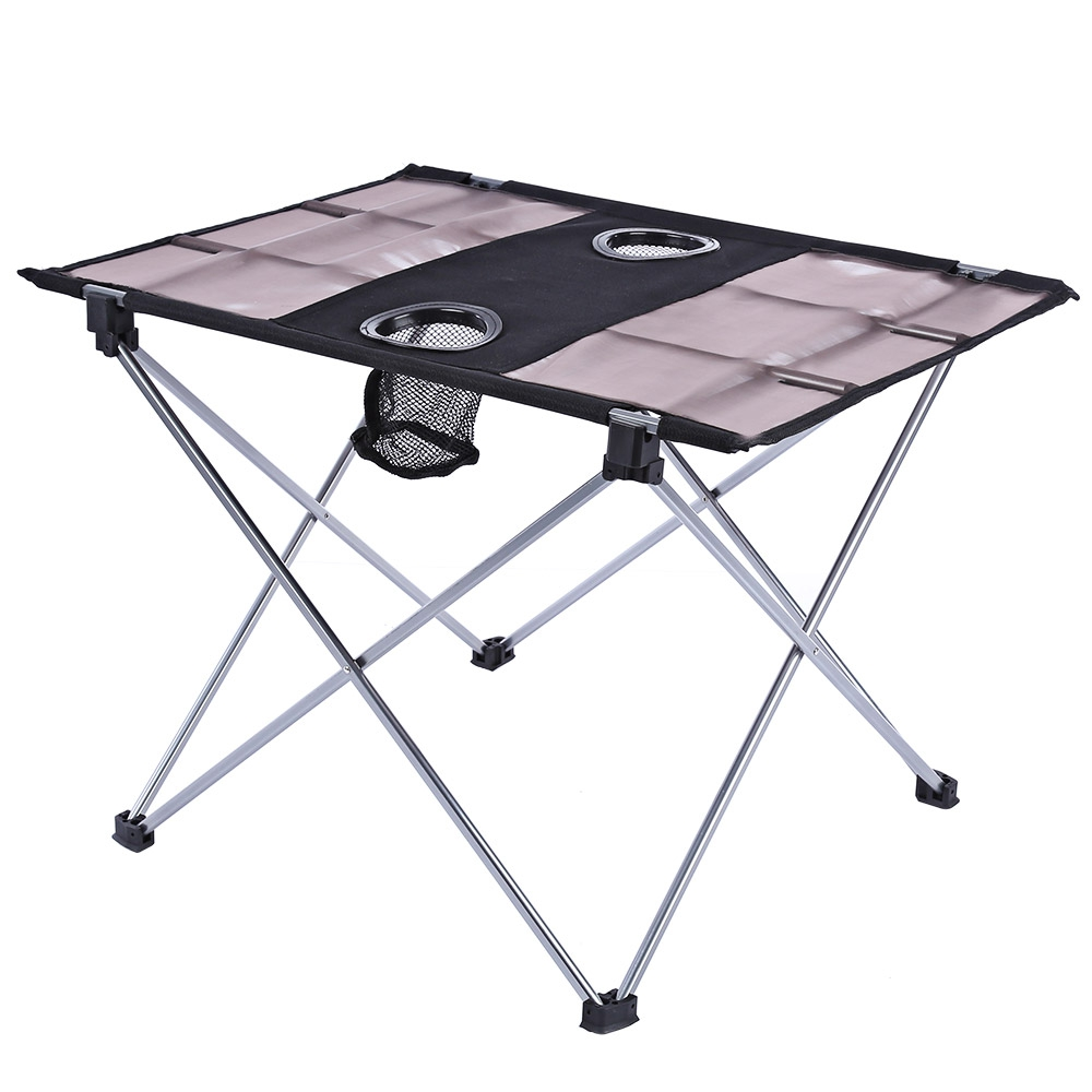Outdoor Portable Foldable Table with Bottle Hole for Fishing Picnic Camping Oxford fabric cloth Foldable Table cup striped print fabric table cloth