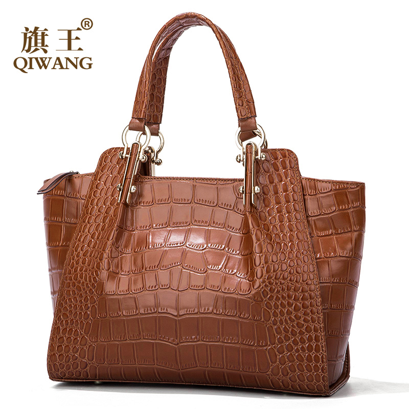 Qiwang Kate Princess Loved Authentic Cow Brown Women Bag Luxury Brown Crocodile Leather Handbag Luxury Fashion Tote Bag 2018 authentic luxury