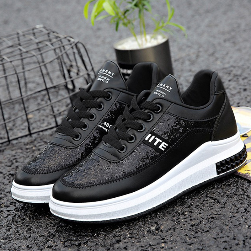 Platform sneakers women shoes breathable shoes fashion bling shoes sewing causal increase sneakers women non-slip size 35-40