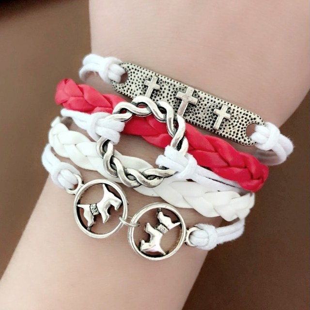L0100 Hot Multilayer Braided Leather Bracelets Bangles Round Pet Dog Cross Wrap European Vintage Women