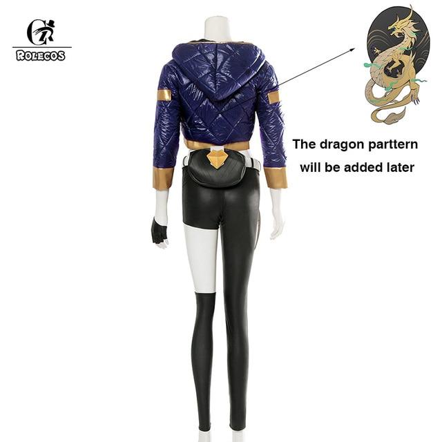 ROLECOS KDA Akali Cosplay Costume LOL AKALI Cosplay Costume LOL K/DA Women Outfit Coat Pants Gloves Bag Hallowen 2