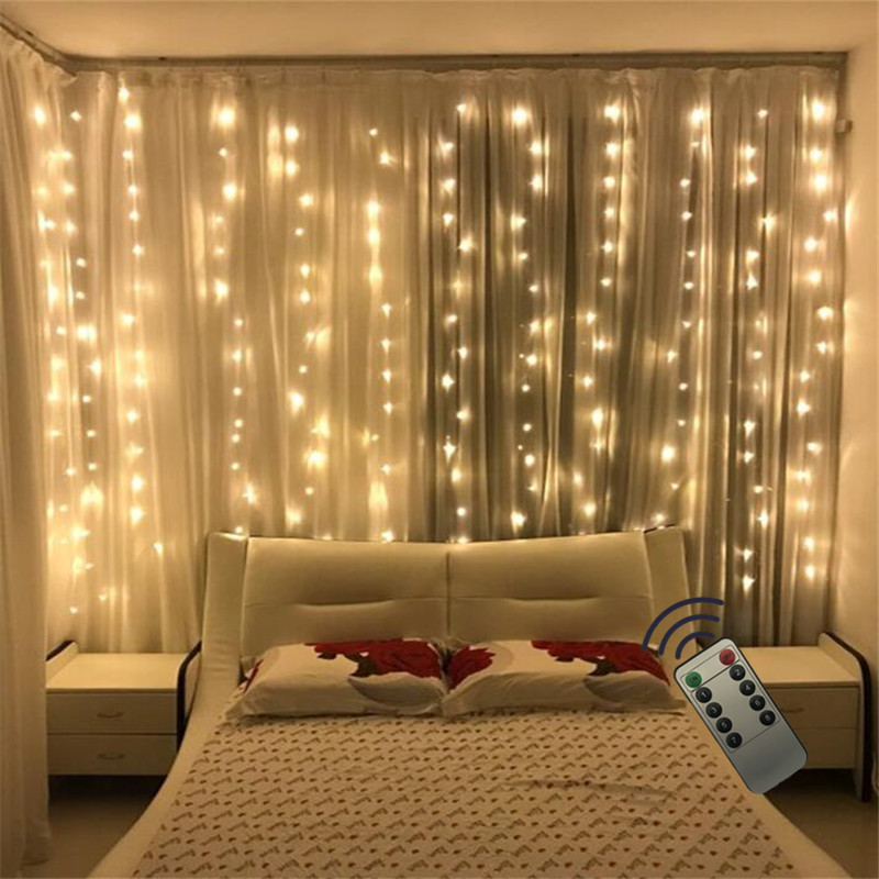3x2 180LED Curtain Fairy Lights Christmas Garland Led Wedding Garden Party Curtain Decoration String Lights With Remote Control