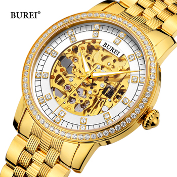 BUREI Watches Men Women Couple Lover's Fashion Luxury Brand Waterproof Automatic Mechanical Wrist Watch Clock Reloj Hombre Mujer man automatic mechanical watches burei fashion brand male luxury clock calendar sapphire steel band 50m waterproof watch mens